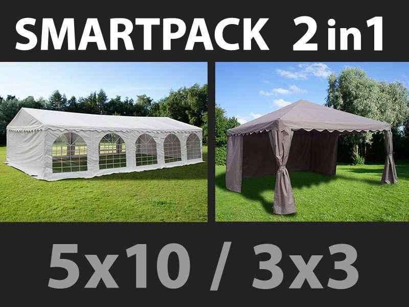 SmartPack Soluzione 2-in-1: Tendone per feste Original 5x10m, Bianco/Gazebo 3x3m, Sabbia