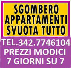 ROMA SGOMBERO ARREDI ABITAZIONI BOX CANTINE UFFICI LOCALI ED ALTRO 7GG SU TEL. 342-7746104