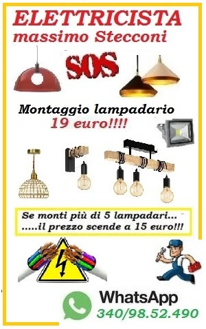 ELETTRICISTA PER IL TUO LAMPADARIO CON 15 EURO