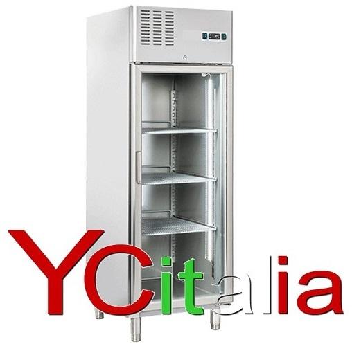 Armadio frigo 600Lt in acciaio porta a vetro